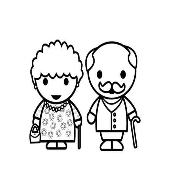 dibujo de abuela y abuelo para colorear