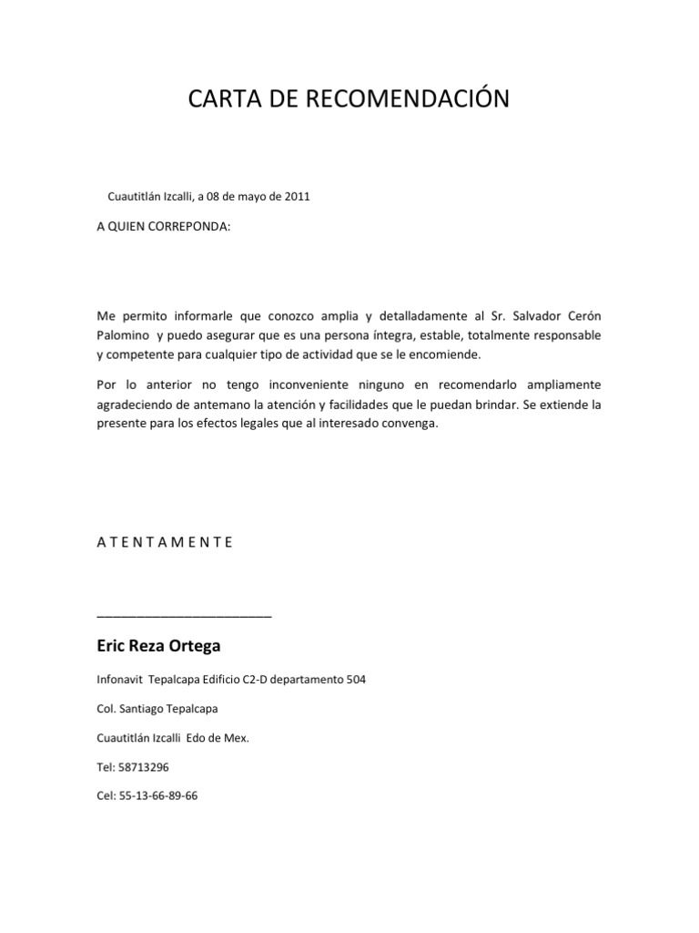 cartas de referencia personales ejemplos - Etame.mibawa.co