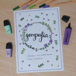 portadas para cuaderno de geografia sencillos